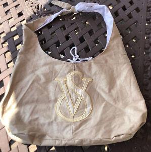 Victoria's Secret Gold Painted Large Cotton Packable Tote Bag Tie Closure