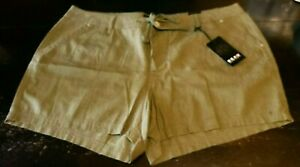BEAU DAWSON Women's Shorts-Linen Blend-Size 18W - Olive Color - NWT -Free Shipng
