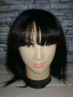 perruque femme 100% cheveux humains mi longue naturel noir frange lace front wig
