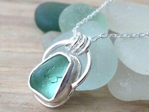 Sea Foam Green SEAHAM Sea Glass Bezel Set Sterling Silver Necklace