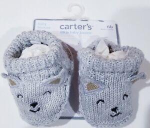 Carter's Baby Booties/Socks Crochet Knit Slip-on Mouse/Squirel - Newborn - New