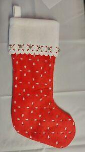 "Martha Stewart Christmas 'Red & White w/ Bells' Stocking, 18"" Tall, Holiday"