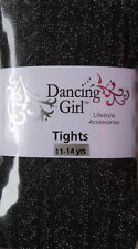 Dancing Girl Herringbone Pattern Tights Black with Silver Glitter for ages 11-14