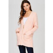 Pink Cardigan soft & fuzzy Full Zip Longer length New
