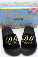 NIB DOLCE & GABBANA Black Velvet Luxury Hotel Logo Slide Sandals 8.5 39  $395