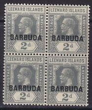 BARBUDA 1922 SG3 2d SLATE-GREY MNH BLOCK OF FOUR