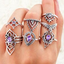 7Pcs/Set Boho Vintage Silver Amethyst Crystal Midi Above Knuckle Ring Jewelry #