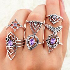 7Pcs/Set Delicate Vintage Silver Amethyst Crystal Midi Above Knuckle Punk Rings
