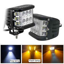 "2x4""inch 45W Side Shooter Pods Combo LED Work Light Strobe Lamp White Amber IP67"