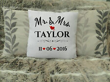 "PERSONALISED CUSHION COVER 16""x16"" WEDDING GIFT MR AND MRS PRESENT ANNIVERSARY"