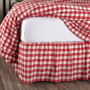VHC Brands Farmhouse Queen Bed Skirt Red Gathered Annie Buffalo Bedroom Decor