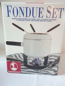 Roshco 2 Quart FONDUE Pot White Porcelain Enamel Set w/ 6 forks New in Box