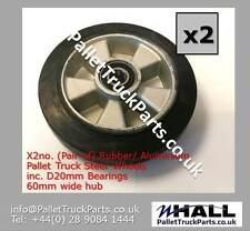 x2no. PRAMAC GS hand pallet truck 200/50mm rubber steer wheels inc bearings