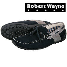 Robert Wayne Navy/Grey Leather Slip-On Boat Shoes - Men's Size 13