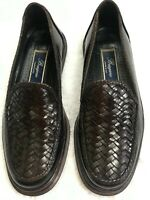 Bragano Cole Haan Mens Leather Slip On Loafers Woven Black Brown  7.5M