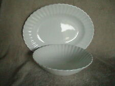 """J & G  MEAKIN England CLASSIC WHITE 12"""" x 9"""" Oval Platter & 8"""" Serving Bowl"""
