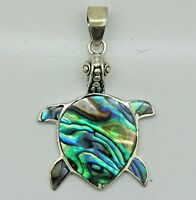 Designer ABALONE SHELL TURTLE Small Pendant in 925 Sterling Silver