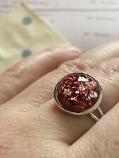 Pretty Red Opal Resin With Gold Flecks Ring