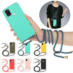 For Samsung Galaxy A21S A51 Note 20 S10 Lite TPU Case Necklace Rope Phone Cover