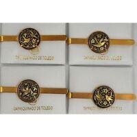 Damascene Gold Mens Tie Bar Dove of Peace Design by Midas of Toledo Spain