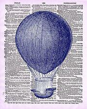 Hot Air Balloon Art Print 8 x 10 - Dictionary Page - Victorian Steampunk - Retro