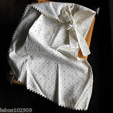 Antique APRON Victorian Edwardian Black on Cream Color Shirting Fabric 1890's