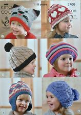 Knitting Pattern Childrens Hats 6 Styles Animal Earflap Beret Aran KingCole 3700