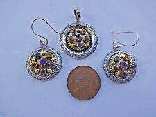 Superb Boho Sterling Silver, Gilt and Mixed Gem Pendant and Ear Rings