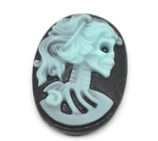 Skull Cameo Cabochon Resin Oval 25x18 Lolita Gothic Steampunk Black Blue