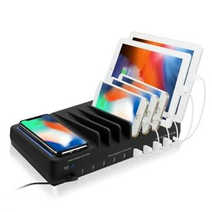 SIIG 10-Port USB-A/C & Wireless Charging Station with Ambient Light Deck