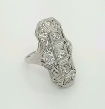 VINTAGE Rare 0.85 Carat 18k 750 White Gold Art Deco Long Diamond Ladies Ring