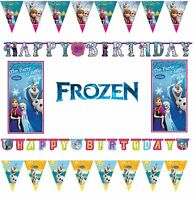 FROZEN ANNA AND ELSA Party Decoration Balloons Stationary Flag Banner Child
