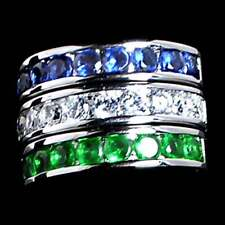 3 Ring Set_Blue_Green_Clear_Cz Wedding Band_Sz-5_925 Sterling Silver