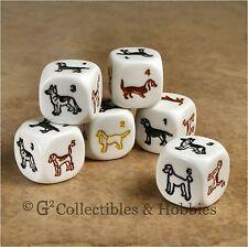 NEW 6 Dog Dice Set Labrador Retriever Beagle Poodle Dachshund 16mm Animal D6