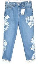 Topshop STRAIGHT LEG Blue Floral Embroidered TASSEL HEM Jeans Size 12 W30 L32