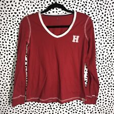 Tommy Hilfiger Small Shirt Red Logo H letterman Womens Long Sleeve 90's