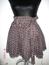 jupe bouffante marron et bordeaux avec ruban sur le côté taille 36 MIM
