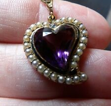VICTORIAN 15 CARAT GOLD, AMETHYST PEARL & ENAMEL WITCHES HEART NECKLACE SH195-1