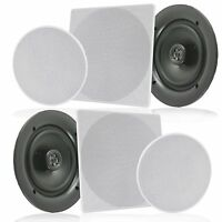 "(PAIR) Pyle PDIC1666 6.5"" In-Wall/In-Ceiling Home Speaker, 2Way Flush Mount,200W"