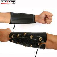 Leather Archery Wrist Arm Guard Compound Recurve Bow Arm Protection Bracer Black