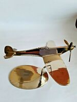 Vintage WW2 Solid Brass Model Of A Spitfire Aeroplane On Stand.