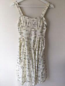 Modcloth Retro Ivory Aeroplane Sweetheart Adjustable Strap Dress AU 4