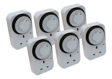 6 Pack 24 Hour Segment Time Switch Energy Saver 24hr Mains Plug In Timer Socket