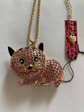Betsey Johnson Necklace pink RHINESTONE resting CAT-BJ50909