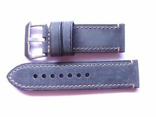 26mm Watch Strap Band with Buckle - 26/26mm Grey Leather Panerai Style EU