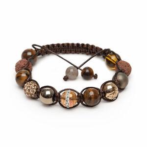 Shamballa Gemstone Bracelet  Tigers Eye Brown Lava Labradorite Pyrite Crystal UK