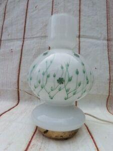 UNUSUAL VINTAGE MID CENTURY GERMAN HAND PAINTED GLASS TABLE LAMP.