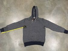 H&M Striped Pullover Hoodie White Navy Sz. XL 100% Authentic