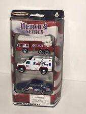 Matchbox  HEROES SERIES  3-PACK  Firetruck Ambulance Police  #90877  2001