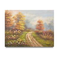 NY Art - Country Landscape in Fall 12x16 Original Oil Painting on Canvas -Sale